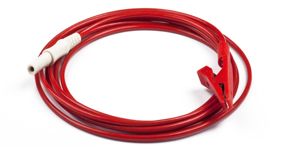 PN 145161│Connection cable with safety connector and alligator clip, red; 1500mm length